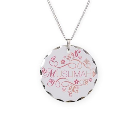 Muslimah Pink Floral Items & Necklace Circle Charm