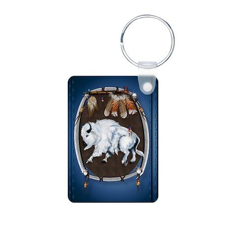 White Buffalo Shield Aluminum Photo Keychain