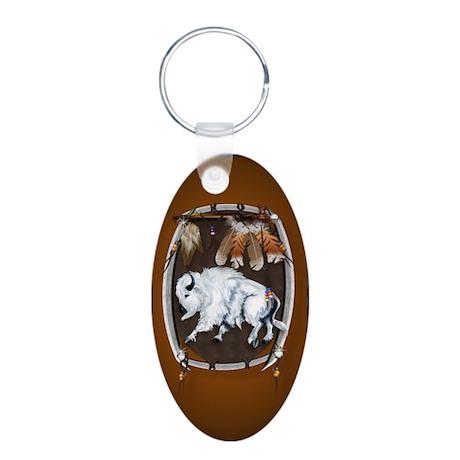 White Buffalo Shield Aluminum Oval Keychain