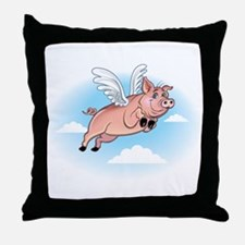 When Pigs Fly Happy Piggy Throw Pillow