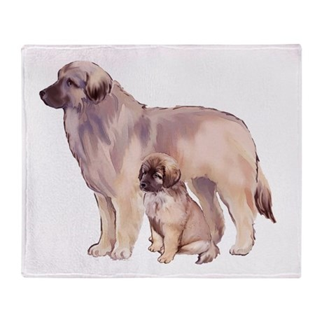 Leonberger mother and puppy Throw Blanket