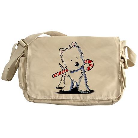 Candy Cane Westie Messenger Bag