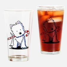Candy Cane Westie Drinking Glass