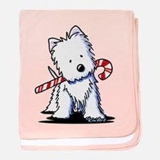 Candy Cane Westie baby blanket