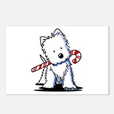 Candy Cane Westie Postcards (Package of 8)