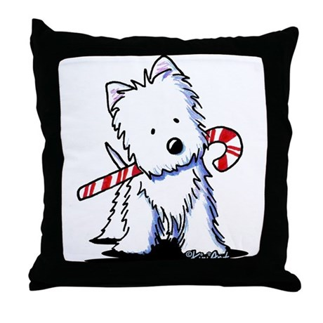 Candy Cane Westie Throw Pillow