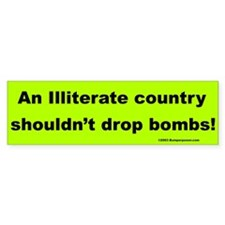Illiterate Country Bumper Car Sticker