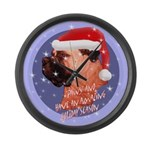 Bull Mastiff Christmas Design Large Wall Clock