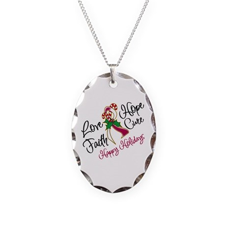 Holiday Hope Throat Cancer Necklace Oval Charm