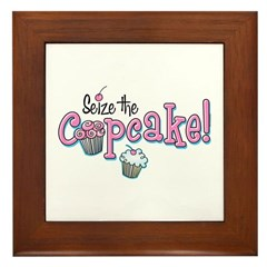 Seize The Cupcake Framed Tile