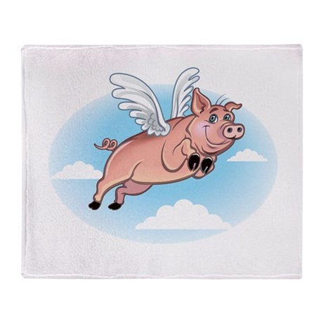 When Pigs Fly Happy Piggy Throw Blanket