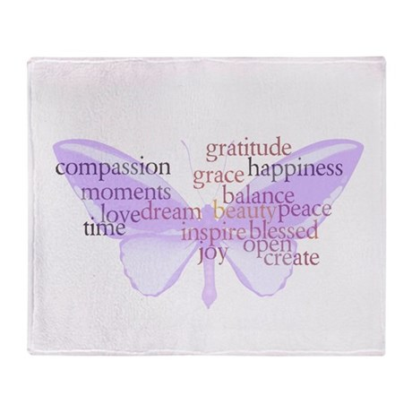 Peace and Gratitude Butterfly Throw Blanket