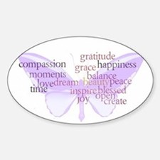 Peace and Gratitude Butterfly Sticker (Oval)