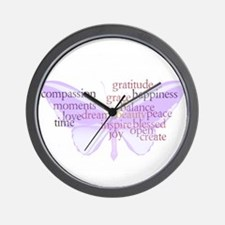 Peace and Gratitude Butterfly Wall Clock