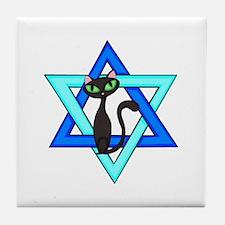 Jewish Cat Stars Tile Coaster