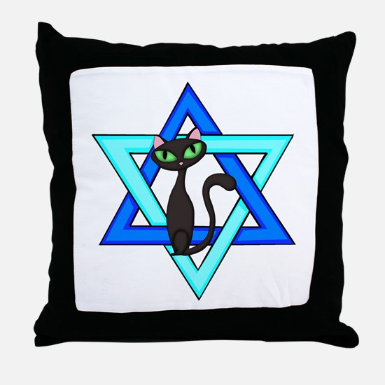 Jewish Cat Stars Throw Pillow