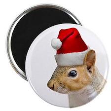 Santa Squirrel Round Christmas Magnet