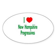I Love NH Progressives Oval Decal