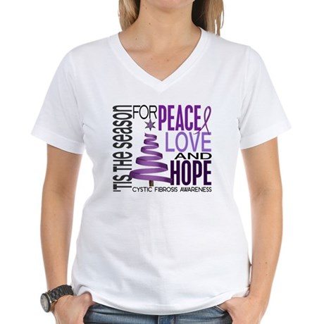 Christmas 1 Cystic Fibrosis Women's V-Neck T-Shirt