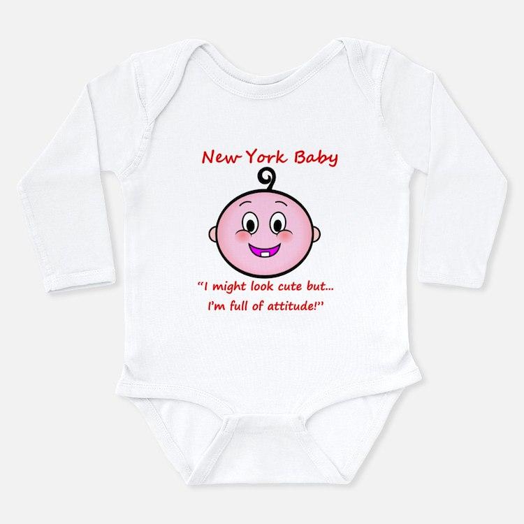 Cute New york baby Long Sleeve Infant Bodysuit
