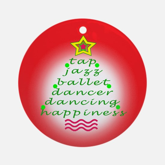 Red Dancers Christmas Tree Ornament (Round)