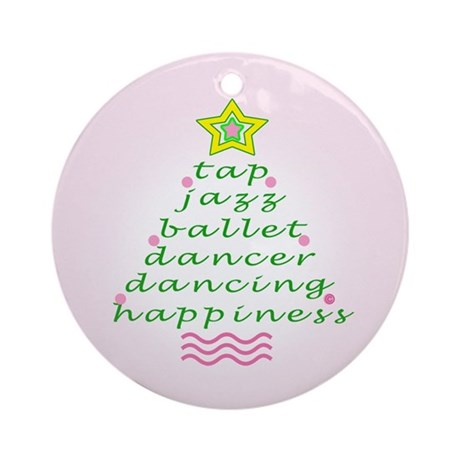 Ballet Pink Dancers Christmas Tree Ornament (Round
