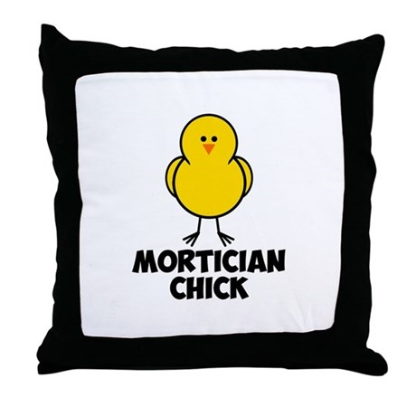 Mortician Chick Throw Pillow