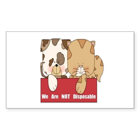 Pets Not Disposable Sticker (Rectangle)