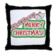 Say Merry Christmas Throw Pillow