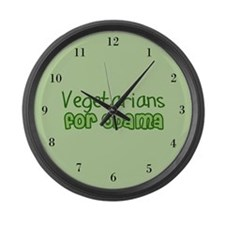 Vegetarians for Obama Large Wall Clock