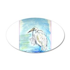 Egret, beautiful, bird, art, 22x14 Oval Wall Peel