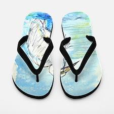 Egret, beautiful, bird, art, Flip Flops