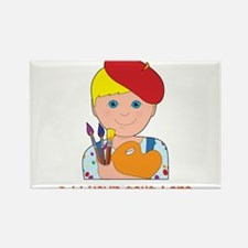Artist Child Boy Rectangle Magnet