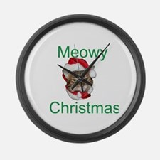 Meowy Christmas Large Wall Clock