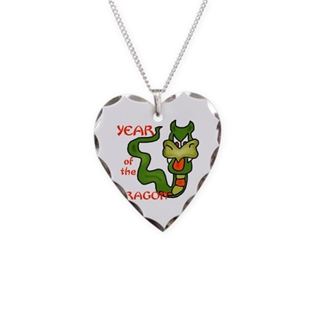 Year of the Dragon Cartoon Necklace Heart Charm