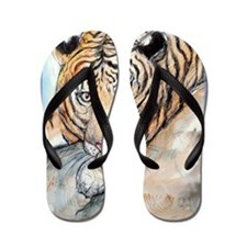 Tiger, wildlife art, Flip Flops