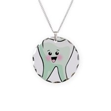 Happy Tooth Necklace Circle Charm