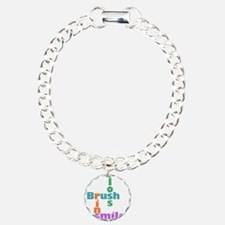 Brush Floss Rinse Smile Charm Bracelet, One Charm