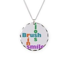 Brush Floss Rinse Smile Necklace Circle Charm