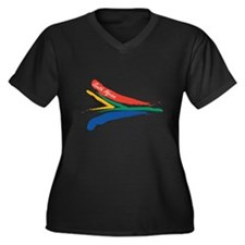 South African flag designs Women's Plus Size V-Nec