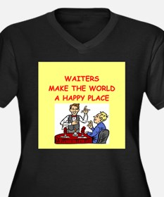 happy waiters Women's Plus Size V-Neck Dark T-Shir