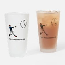 Baseball Player with Custom T Drinking Glass