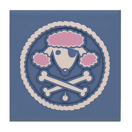 Poodle Pirate III Tile Coaster