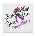 Holiday Hope Pancreatic Cancer Tile Coaster