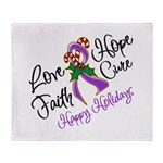 Holiday Hope Pancreatic Cancer Throw Blanket