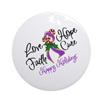 Holiday Hope Pancreatic Cancer Ornament (Round)