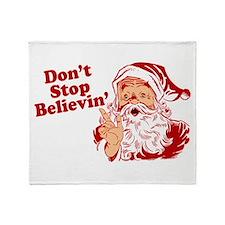 Don't Stop Believin' Santa Throw Blanket