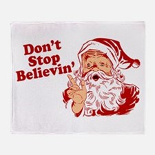 Don't Stop Believin' Santa Throw Blanket