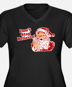 Don't Stop Believin' Santa Women's Plus Size V-Nec