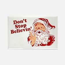 Don't Stop Believin' Santa Rectangle Magnet